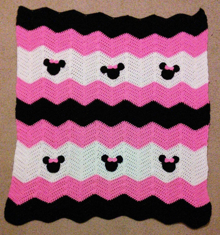 Crochet Patterns For Children s Blankets : Rose noir et blanc Minnie Mickey Mouse bebe de Crochet Afghan