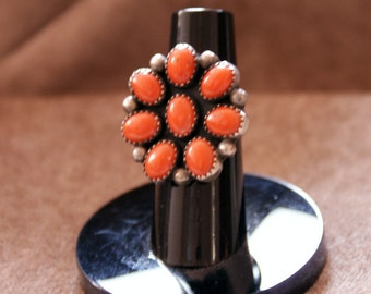 Vintage Zuni Coral Cluster Natural Red Coral and Sterling Silver Sz. 5 1/4