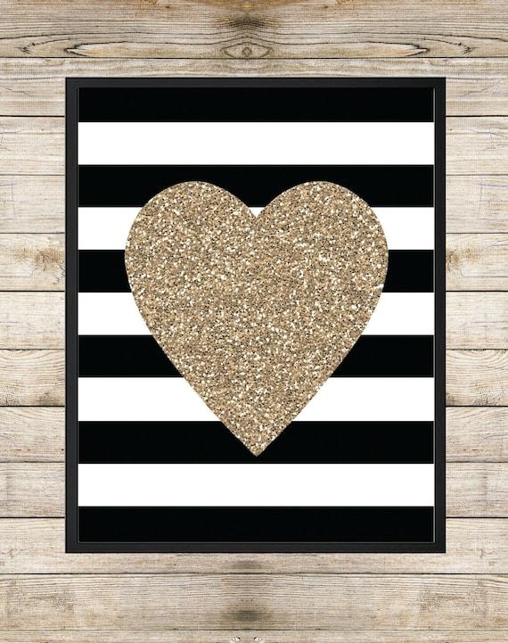 Etsy Gold Wall Decor : Items similar to printable art gold glitter heart