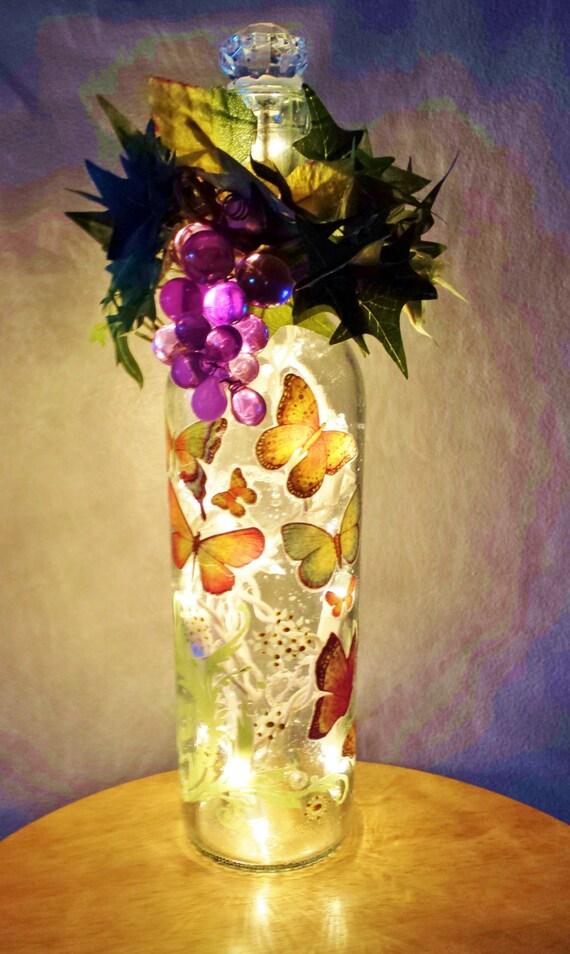 Wine bottle light beautiful butterflies lighted wine bottle for Lighted wine bottle craft