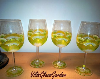 "Hand-painted wine glasses "" Buttercup"" set of four"