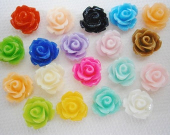 50 Resin Rose 10mm Mixed Color Cabochons.