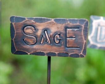 COPPER HERB and VEGGIE Markers  for the Garden - Rosemary - Thyme - Sage - Mint - Oregano - You name it We'll Make It!
