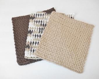 Crochet Cotton Dishcloth - Crochet Cotton Washcloth - Three Pack Cotton Dishcloth - Handmade Dishcloth - Kitchen Dishcloth Set
