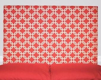 Coral Geometric Upholstered Headboard - Padded Twin or Full Size Headboard - Kids, Boy, Girl, Teen Bedroom Dorm Room- Wall Mount Headboard