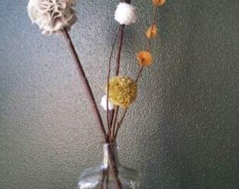 Fabric and Wood Flower Arrangements