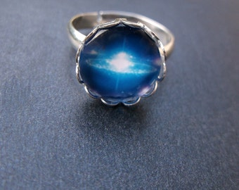 Blue Universe Glass Cabochon Silver Tone Adjustable Ring