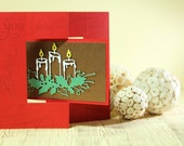 Paper Handmade Greeting Card Christmas Candle Swing Card - Cazzazcrafts