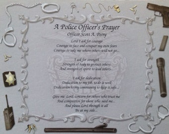 Gift For Police Officer Personalized A Police Officer's Prayer Birthday Christmas Father's Day Graduation Gift Husband Son Daughter Father