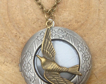 Bird Locket Necklace Victorian Jewelry Gift Vintage Style