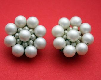 Vintage Faux Pearl Japan Clip On Earrings