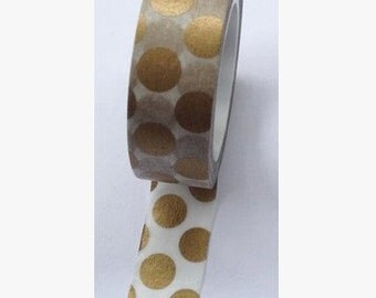 Golden Dots Washi Tape -- Japanese Washi Tape -Deco tape-- 10M