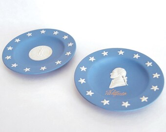 Vintage Wedgwood State Seal Series Virginia Blue Jasperware Plates Set No 1, Washington