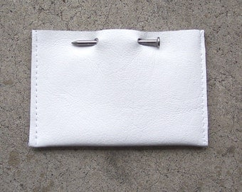 White Leather Nail Business Card Holder