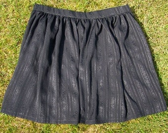 Black Silk Ribbon Gathered Skirt Small/Medium UK10-12