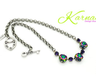 ELECTRA DREAM 12mm/6mm Crystal Choker Made With Swarovski Elements *Antique Silver *Karnas Design Studio *Free Shipping*