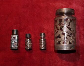 Vintage Sterling Silver Encased Glass Jars