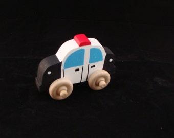 Handmade Wooden Police Car