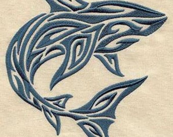 2 embroidered hand towels - tribal shark -  15 x 25 inch terry cloth for kitchen / bath