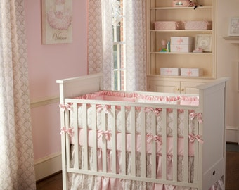 Baby Girl Crib Bedding: Pink and Taupe Damask 3-Piece Crib Bedding Set by Carousel Designs