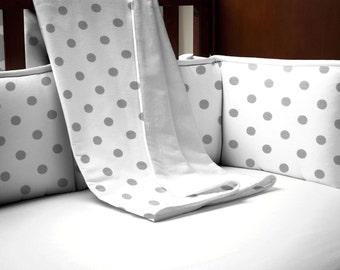Neutral Baby Crib Bedding / Girl Baby Bedding / Boy Crib Bedding: White and Gray Polka Dot Crib Blanket by Carousel Designs