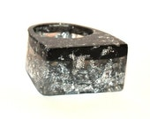 Resin Ring Silver Leaf & Black SLAM GLAM ROCK Ring, 2016 Ring Trends, 2016 Fashion Trending, Unique Modern Jewelry, ResinHeavenUSA