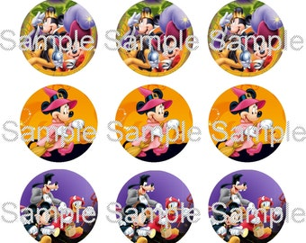 "15 1"" - Precut Bottle Cap Images - Mickey Halloween Inspired"