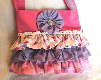 Little girls pink ruffled purse