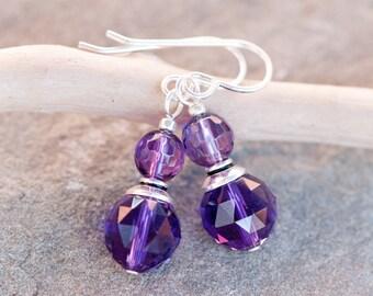 Purple Amethyst Earrings, Sterling Silver Beadcaps, Sterling Silver Earwires. Purple Earrings. Natural Stone Earrings. Purple Drop Earrings.