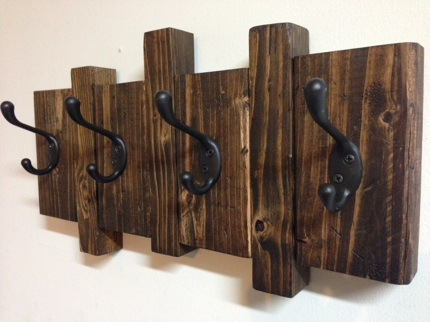 Rustic Wood Wall Mount Coat Hook Rack Asymmetrical