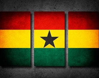 Ghana Flag Triptych (w/ Free Shipping!)