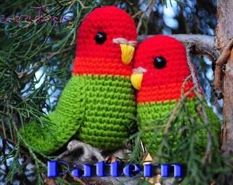PDF Pattern - Amigurumi Lovebird (crochet parrot)