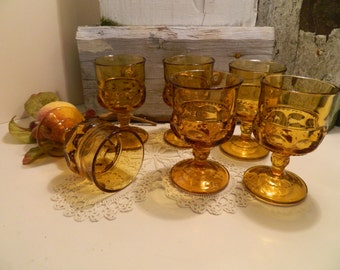 Set of 6 Vintage Amber Indiana Glass Co. Kings Crown Thumbprint Cordials