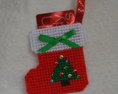 Plastic Canvas Stocking Gift Card Holder/Ornament - Christmas Tree