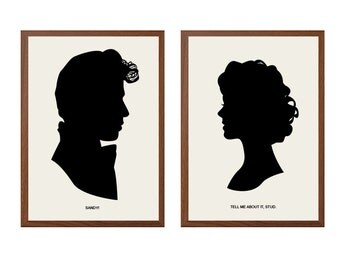 Grease | Tell Me About It, Stud Poster : Danny Zuko Sandy Modern Illustration Grease Retro Art Wall Decor - Set of Two Prints