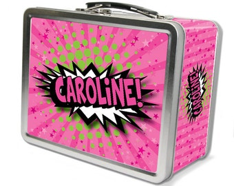 """Comic Pow!  """"Retro"""" Personalized Lunch Box -Pink"""