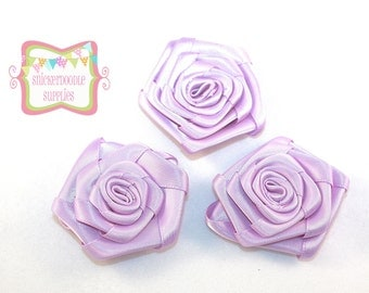 Lavender Satin Rolled Rosette 3 Pieces #D115