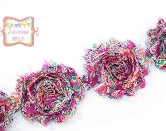 "SALE 2.5"" Purple Paisley Shabby Rose Trim #T033"
