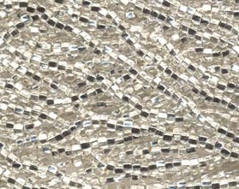 Seed Beads, 8/0, 6 String Hank, Mini Hanks, 20 Inch Loops, Crystal Silver Lined, Value, Glass Beads, 38 Grams, #78102