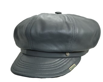 Lambskin Leather Newsboy Hat Cap Various Colors with Satin Lining S/M Size Made in USA
