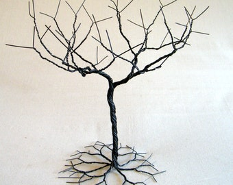 Black Jewelry tree Stand. Jewelry holder organizer , tall for necklaces and  earrings , wire