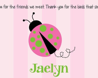 Personalized Placemat - Kids Placemat - Childrens Placemat - Childs Placemat - Laminated Placemat - Baptism Gift - Pink Ladybug