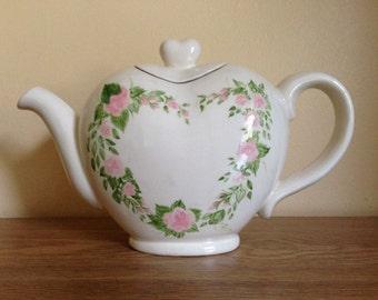 Vintage Hand Painted Heart Tea Pot