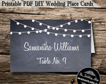 Instant Download- Printable PDF DIY String Lights On Chalkboard Wedding Tent Style Template 4 Place Cards Per Sheet