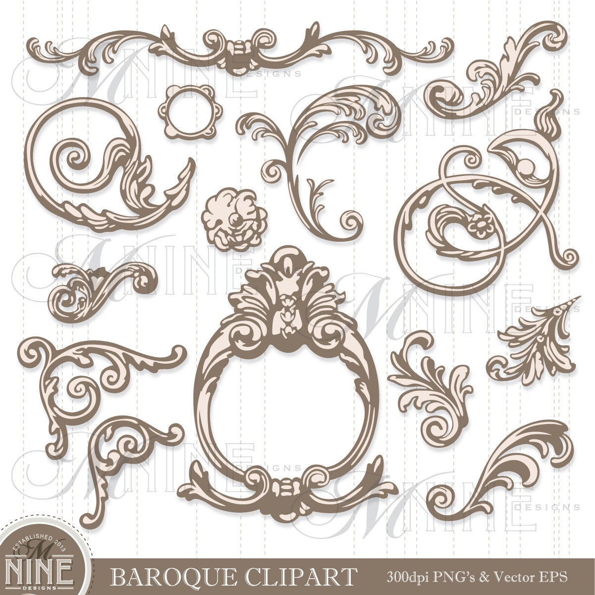 Baroque ornaments clipart digital clip art instant for Baroque design elements
