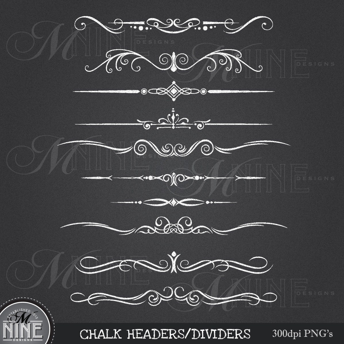 CHALK HEADERS DIVIDERS Clipart Design Elements By MNINEDESIGNS