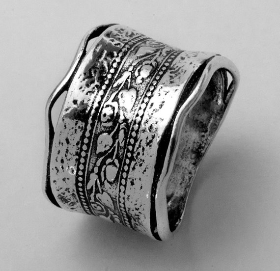 Shablool Didae Israel 925 Sterling Silver Band Ring Featuring Leaves And Twigs Motif