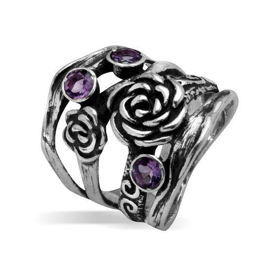Vintage Style Silver Cluster Ring Amethyst CZ