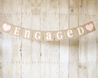Engaged Banner-Choose Your Color-Engagement Photo Prop-Engagement Party-Bridal Shower