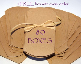 80 pillow boxes, Kraft pillow boxes, wedding favor boxes, jewelry boxes, packaging